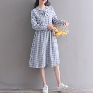 Long-Sleeve Plaid Bow-Neck A-Line Dress from Clover Dream