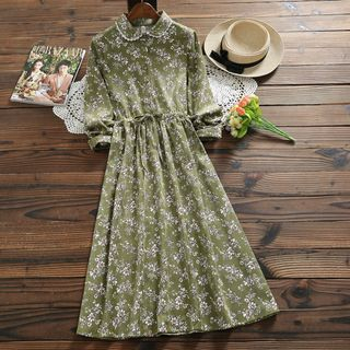 Long-Sleeve Printed Corduroy A-Line Midi Dress from Clover Dream