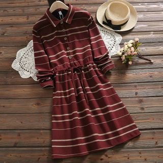 Long-Sleeve Striped A-Line Dress from Clover Dream