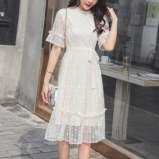 Maternity Short-Sleeve Midi Lace Dress from Clover Dream