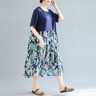 Mock Two-Piece Short-Sleeve Midi Floral Panel Dress Blue - One Size from Clover Dream