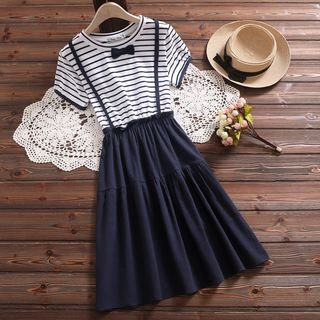 Mock Two-Piece Short-Sleeve Striped Dress from Clover Dream