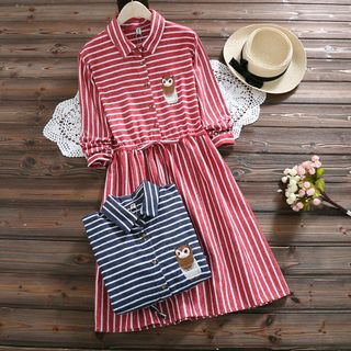Owl Embroidered Striped Shirt Dress from Clover Dream