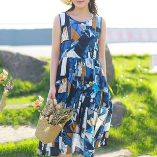 Printed Sleeveless A-Line Dress from Clover Dream