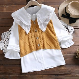 Set: Cable Knit Vest + Shirt from Clover Dream