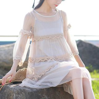 Set: Elbow-Sleeve Lace Dress + Slipdress from Clover Dream