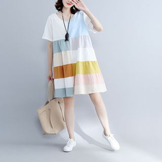 Short-Sleeve Color Block Babydoll Dress from Clover Dream