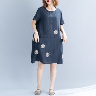 Short-Sleeve Embroidered Dress Navy Blue - One Size from Clover Dream