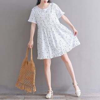 Short-Sleeve Floral Print A-Line Dress from Clover Dream
