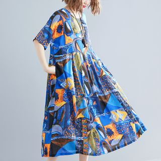Short-Sleeve Midi Printed Dress Blue - One Size from Clover Dream