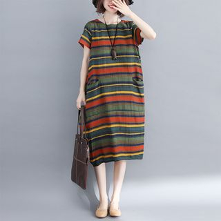 Short-Sleeve Striped Midi Dress from Clover Dream