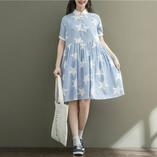 Star Print Collared Short Sleeve Dress from Clover Dream