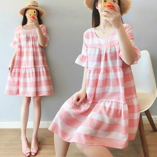 Striped Short-Sleeve Babydoll Dress from Clover Dream