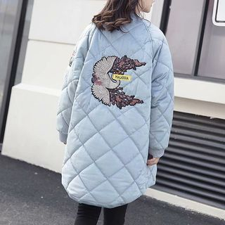 Bird Embroidered Padded Zip Coat from Cobogarden