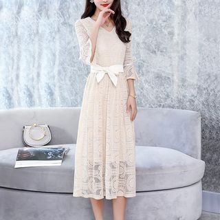 Elbow Sleeve Midi Lace Dress from Cobogarden