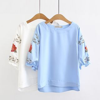 Embroidered Elbow-Sleeve Top from Cobogarden