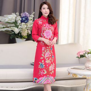 Embroidered Midi Cheongsam from Cobogarden
