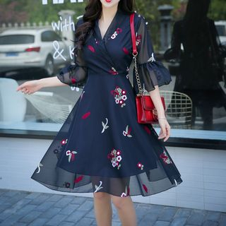 Flower Embroidered 3/4 Sleeve Chiffon Dress from Cobogarden