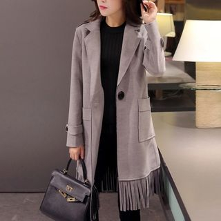 Fringed Single Button Coat from Cobogarden