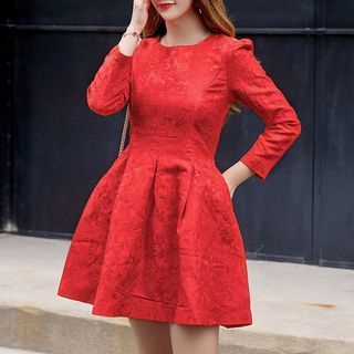 Long-Sleeve Mini A-Line Pleated Dress from Cobogarden