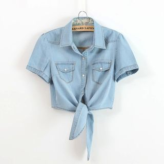 Short-Sleeve Tie-Front Cropped Denim Shirt from Cobogarden