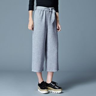Tie-Waist Wide-Leg Cropped Pants from Cobogarden