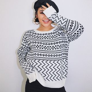Drop-Shoulder Printed Sweater from Colada