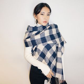 Fringed Plaid Scarf As Shown In Figure - One Size from Colada