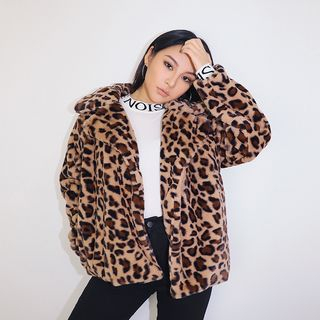 Loose-Fit Leopard-Print Fleece Jacket from Colada