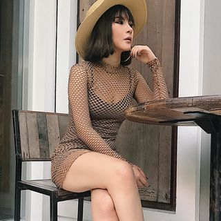 Mock Neck Long Sleeve Fishnet Dress from Colada