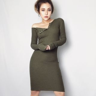 Off-Shoulder Long-Sleeve Bodycon Dress from Colada