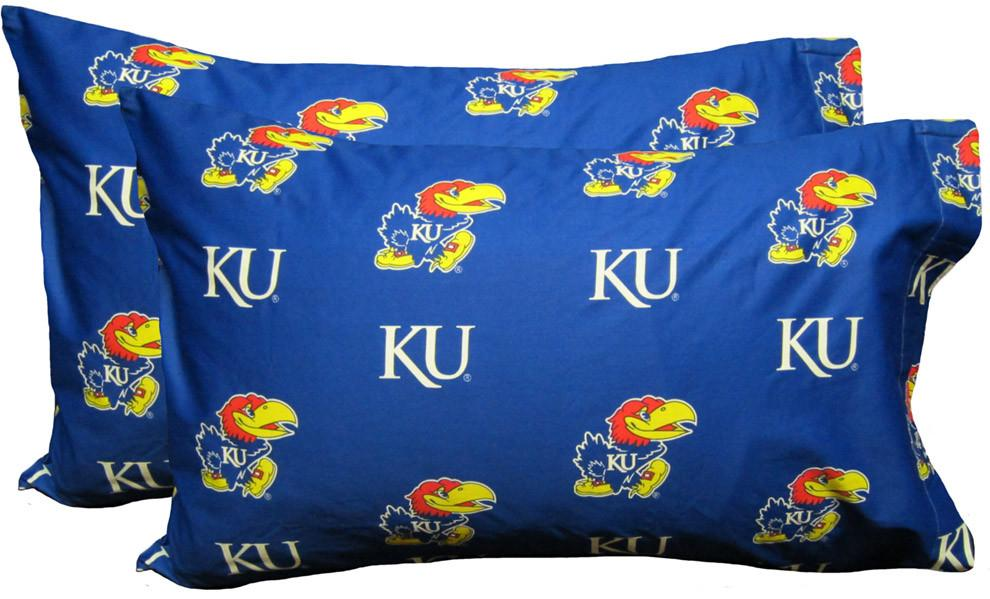 Kansas Printed Pillow Case - (Set of 2) - Solid - KANPCSTPR by College Covers from College Covers