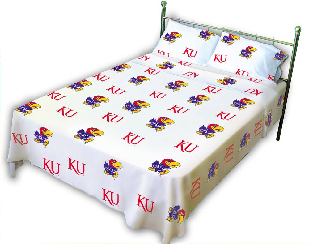 Kansas Printed Sheet Set Full - White - KANSSFLW by College Covers from College Covers