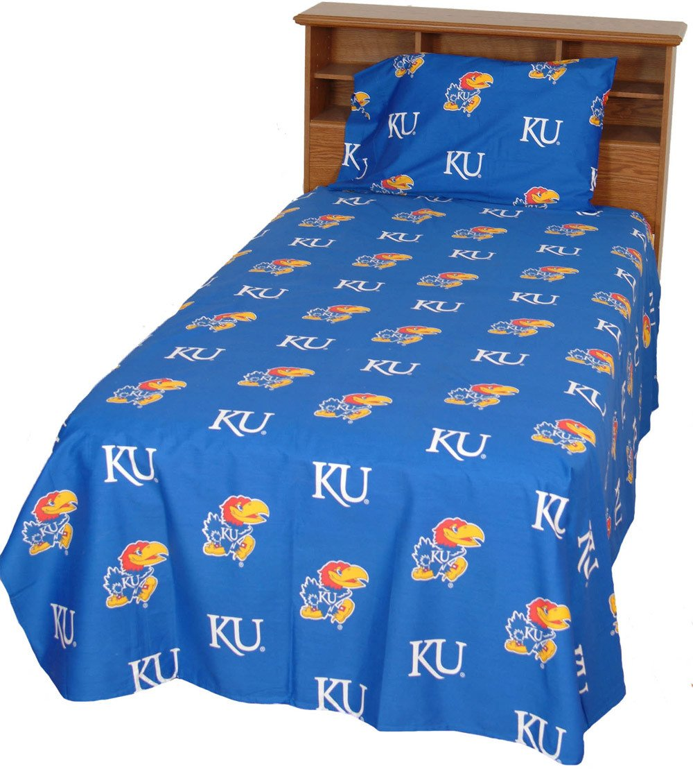 Kansas Printed Sheet Set Queen - Solid - KANSSQU by College Covers from College Covers