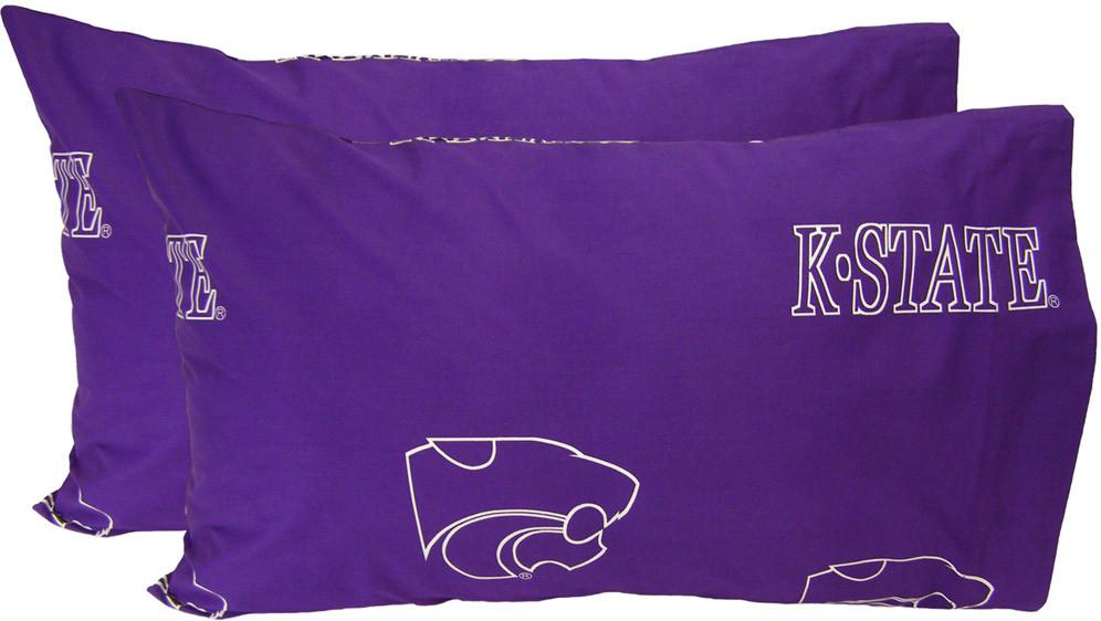 Kansas State Printed Pillow Case- (Set of 2) - Solid - KSUPCSTPR by College Covers from College Covers