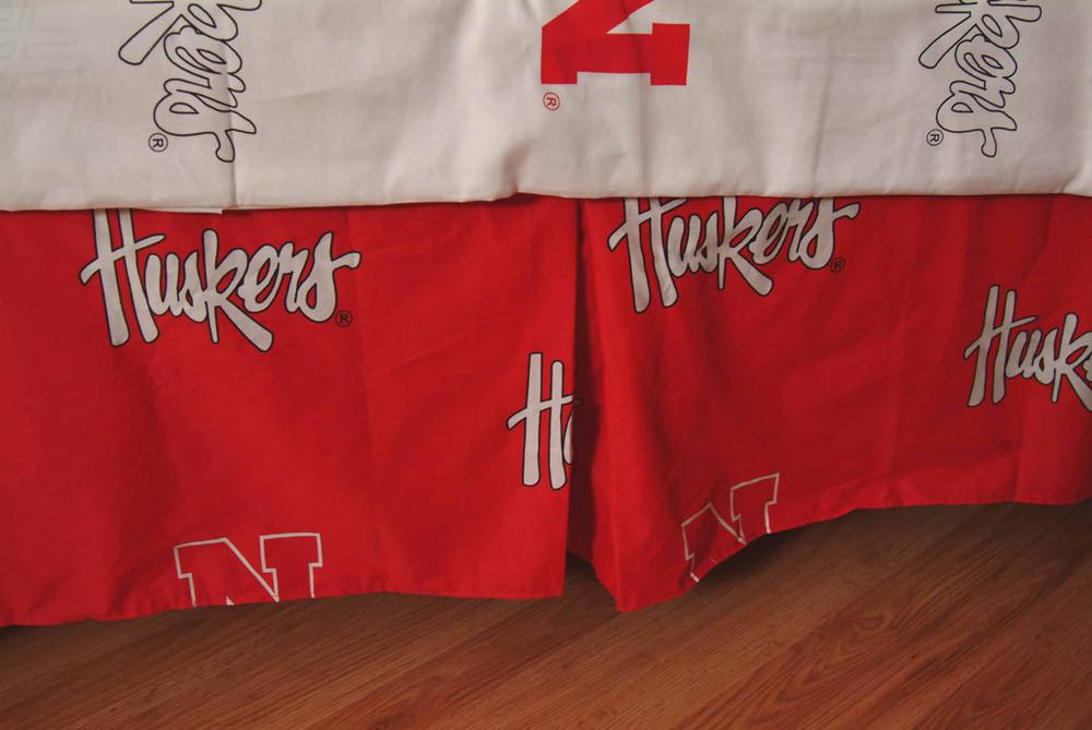 Nebraska Printed Dust Ruffle Queen  - NEBDRQU by College Covers from College Covers