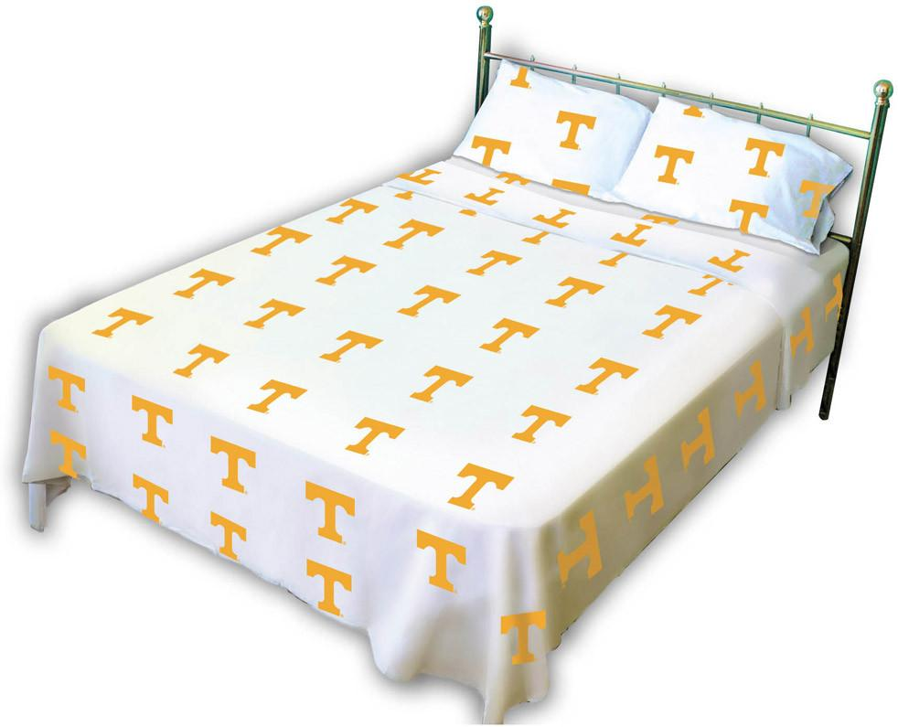 Tennessee Printed Sheet Set Full - White - TENSSFLW by College Covers from College Covers