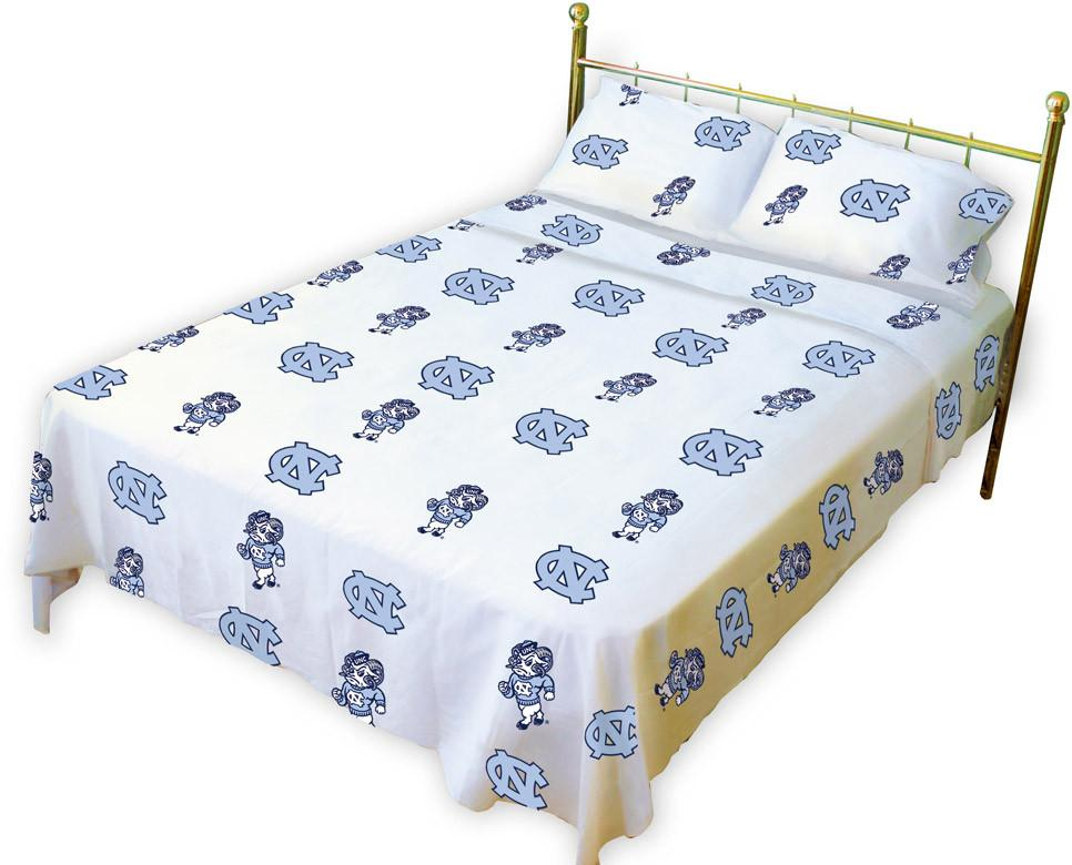 UNC Printed Sheet Set Twin - White - NCUSSTWW by College Covers from College Covers