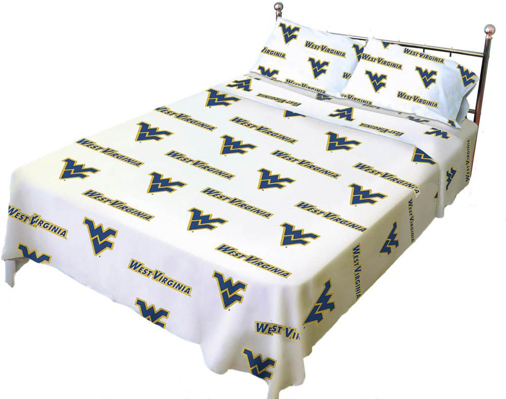 West Virginia Printed Sheet Set King - White - WVASSKGW by College Covers from College Covers