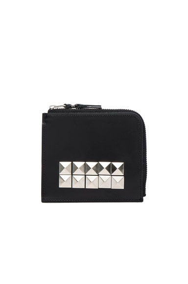 Comme Des Garcons Studded Leather Zip Wallet in Black from Comme Des Garcons