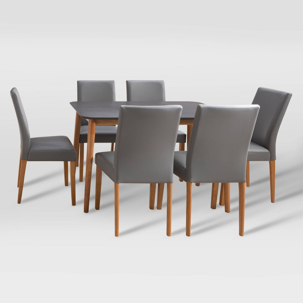 7pc Alpine Two-Toned Dining Set Gray/Cherry Red - CorLiving from CorLiving
