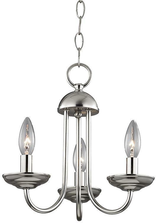 Cornerstone 1523CH/20 Williamsport 3 Light Mini Chandelier In Brushed Nickel from Cornerstone