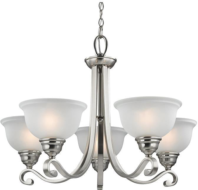 Cornerstone 2305CH/20 Hamilton 5 Light Chandeier In Brushed Nickel from Cornerstone