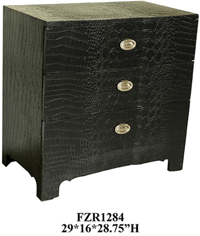Crestview Collection CVFZR1284 Black Crocodile 3 Drawer Chest 29 X 16 X 28.75 from Crestview Collection