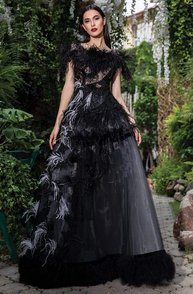 Cristallini - SKA 1048 Feathered Illusion Scoop Ballgown from Cristallini
