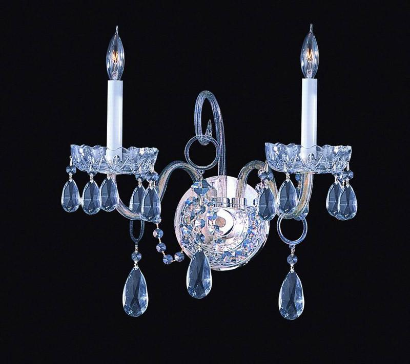 Crystorama 1032-CH-CL-SAQ 2-Lights Swarovski Spectra Crystal Wall Sconce - Polished Chrome from Crystorama