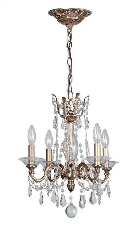 Crystorama 2224-RB-CL-MWP Delancey 4 Light Roman Bronze Mini Chandelier from Crystorama