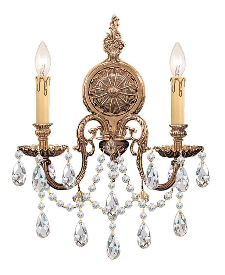 Crystorama 2702-OB-CL-SAQ 2-Lights Ornate Cast Brass Wall Sconce Accented With Swarovski Spectra Crystal - Olde Brass from Crystorama