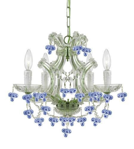 Crystorama 4474-CH-BLUE Maria Theresa 4 Light Blue Crystal Mini-Chandelier from Crystorama