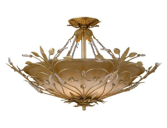 Crystorama 4707-GL 6-Lights Primrose Semi Flush Adorned With Swarovski Spectra Crystal Beads - Gold Leaf from Crystorama